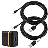 Zacro 2 Pcs 13ft PS4 Controller Charging Cable USB Cord and 2.1A 10W Dual USB Travel Wall Charger for Playstation 4 and Dual Shock 4 Charge