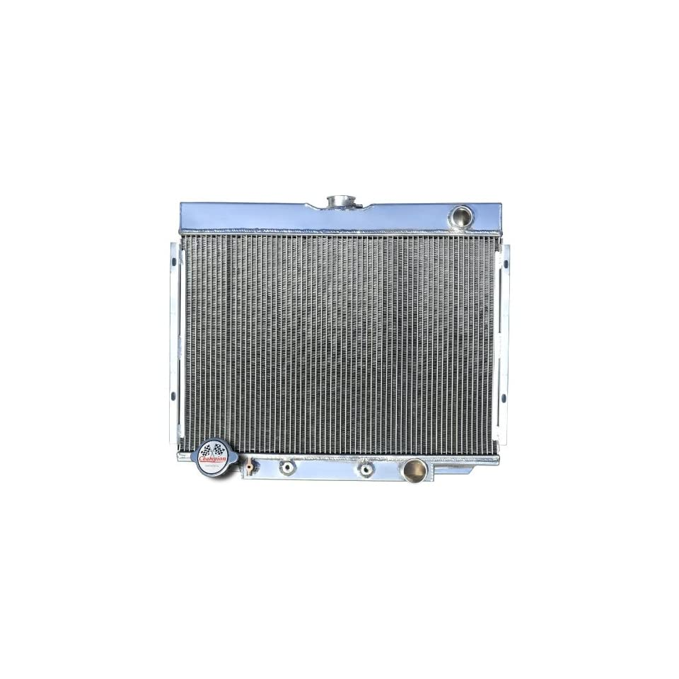 3 Row All Aluminum Replacement Radiator for the 1967 70 Ford Mustang, 1969 Ford Fairlane, 1969 Ford Ranchero, 1967 70 Mercury Cougar XR7   Manufactured by Champion Cooling Systems, Part Number 338