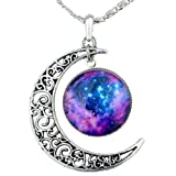 GBSTORE Galaxy Necklace Hollow Out Crescent Star Galactic Cosmic Moon Charm Necklaces