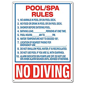 Poolmaster 40321 Pool Spa Rules Sign For Commercial Pools Florida Compliant