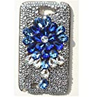 EVTECH(TM) 3D Handmade Rhinestone Crystal Diamond Design Case White Cover for Samsung Galaxy Note II 2 N7100 I605 L900 I317 T889 T-mobile Version(100% Handcrafted)