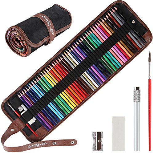 Colored Pencils for Adults - 48 Vivid Watercolor Pencils & Case Set, Artist Grade 3.5mm Soft Cores, Ideal for Adult Coloring Books & Art Pages, Inc. Metal Sharpener, Extender, Blending Brush & Eraser