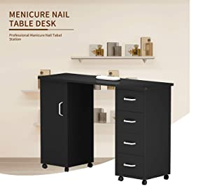 Nail Table Artist Hand Portable Manicure Station Desk Spa Beauty Salon Beauty Salon Wooden Technician Table (Double Side Black) (Color: Black, Tamaño: Double side)