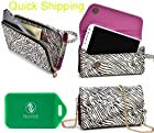 CROSS BODY WRISTLET/WALLET SMARTPHONE HOLDER|ZEBRA PRINT| UNIVERSAL FIT FOR RadioShack Samsung Galaxy S4 NoContract Phone