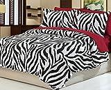 Dovedote Cotton Black White Zebra Animal Print Bedspread with Burgundy Sheet Set, King, Reversible, 7 Piece