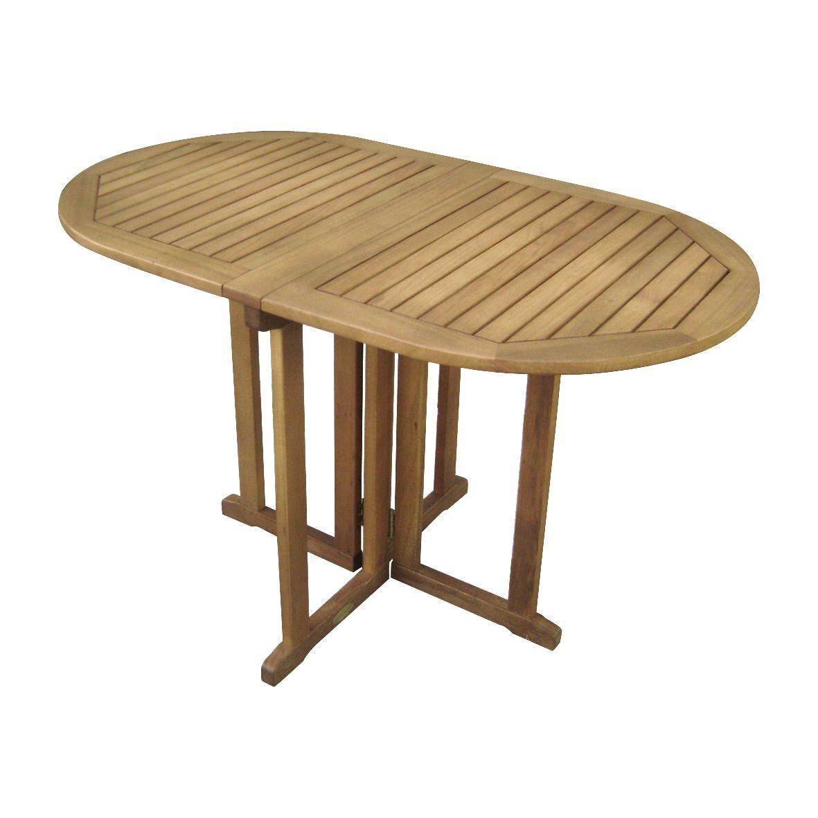 Gateleg Tisch für Garten und Terrasse, Massivholz 120 x 70 cm