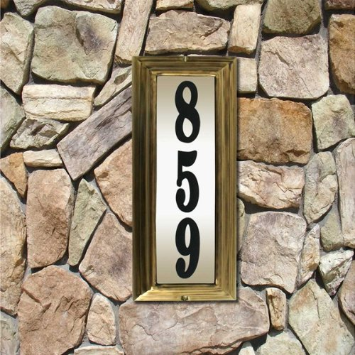 Qualarc Ltv-1303Ab Vertical Lighted Address Plaque Antique Brass W/Black Polymer Numbers