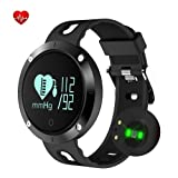 KEDA Fitness Tracker Smart Watch-Blood Pressure Monitor,Heart Rate Monitor,Sleeping Monitor,Tracker Pedometer with IP67 Waterproof OLED Large Touch Screen for IOS and Android(BLACK) (Color: Black)