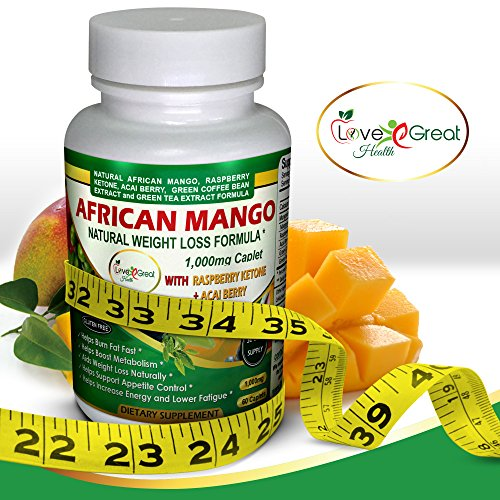 African Mango Natural Weight Loss Formula 1000MG 60 Caplets Helps Leptin Levels - Raspberry Ketones Acai Berry Green Tea - Helps Women and Men Lose Weight Burn Fat Fast, No Side Effects - Made In USA (Mango Extract Weight Loss compare prices)