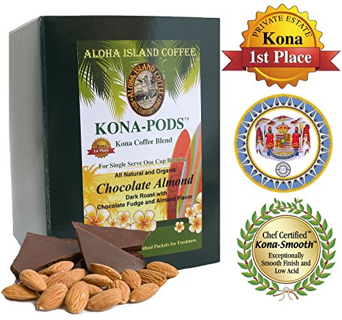 Senseo Pods Of Chocolate Almond Flavored Kona Blend Coffee, 18 Pods, Reusable Pod Adapter Is Available For K-Cup Brewing