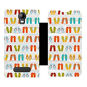 Skintice Designer Flip Cover with Vinyl wrap-around for Micromax Bolt Q339, Design - Slippers