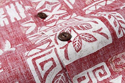 Made in Hawaii Men's Hawaiian Shirt Aloha Shirt Stonewash Vintage Look Classic Red 3