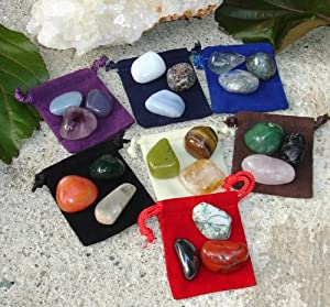 21 Large Natural Tumbled Stones Basic Chakra Balancing Healing Kit Set Reiki & Using Feng Shui