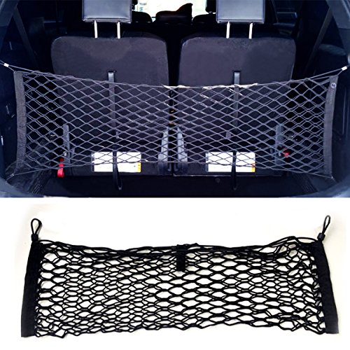 Zone Tech Large Pocket Mesh Storage Net - Black Mesh Large Pocket Trunk Cargo Organizer with 2 Mounting Options (Cargo Net Replacement Hooks compare prices)