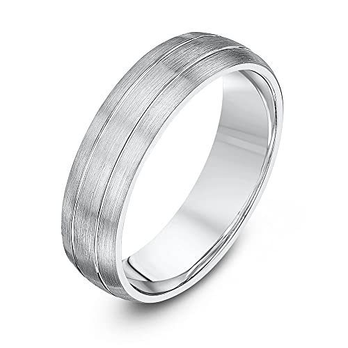 Theia Palladium 950, Heavy Weight, Court Shape, Matted and Polished Grooved Wedding Ring