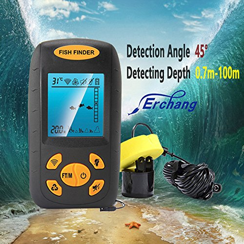 Erchang Sonar Fish Finder Portable Fish Finder with Round Sonar Sensor Alarm Transducer Fish Finder (Trolling Motor Mount Bolts compare prices)