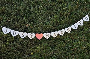 """Just Married"" Wedding Banner Garland - Pearl White by Party N Beyond"
