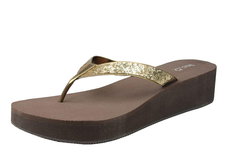 Inc.5 Women Ant Gold Synthetic Fashion Sandals (5547_ANT GOLD_6UK) - 6 UK