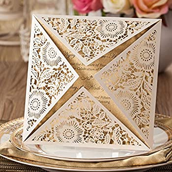 Wishmade 100x White Square Laser Cut Wedding Invitations Cards with Lace Flowers Engagement Birthday Bridal Shower Baby Shower Graduation Party Favors CW520WH