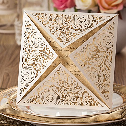 Wishmade 100x White Square Laser Cut Wedding Invitations Cards with Lace Flowers Engagement Birthday Bridal Shower Baby Shower Graduation Party Favors CW520WH 0
