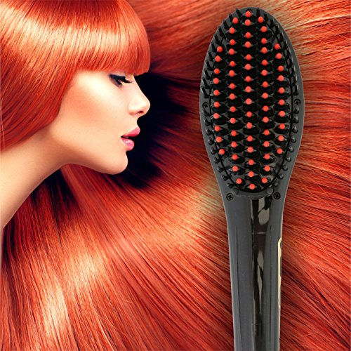[PATENTED] Professional Ionic Best Hair Brush Straightener for Styling By Azorro, Detangling, Straightening, FrizzFree Hair Care With Scalp Massage LCD Display Ceramic Flat Iron Paddle Brush RED