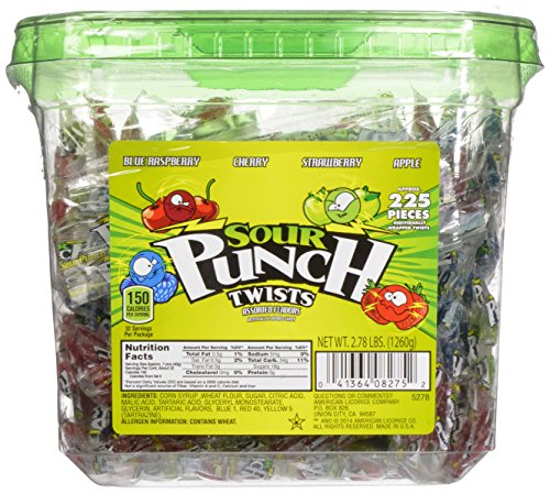 Sour Punch Twists, 4-Flavor Variety Pack, 44.48-Ounce Tubs (Pack of 2) (Sour Punch Straws Tub compare prices)