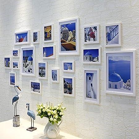 ZZZSYZXL Salón comedor de pared de fotos de madera maciza de espesor 20 conjuntos combinación creativa de la pared del marco , white