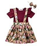 Toddler Baby Girl Outfits Ruffle Romper Top+Suspender Braces Skirt Overalls Clothes Set (18-24 Months, Wine) (Color: Wine, Tamaño: 18 - 24 Months)
