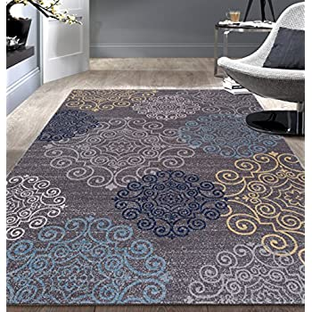 Modern Floral Swirl DesignNon-Slip (Non-Skid) Area Rug 8 x 10 (7 10