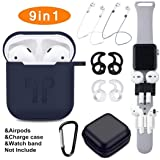 Airpods Case, Airpods Accessories Set,9 in 1 Protective Silicone Cover and Skin Compatible Apple Airpods with Anti-Lost Airpods Strap,Airpods Ear Hook/Watch Band Holder/Keychain/Carrying Box (Blue) (Color: Deep Blue, Tamaño: airpods case)