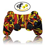 dainslef PS3 Controller Dualshock 3 PS3 Controller Wireless Remote Ps3 Gamepad Best PS3 Joystick Gift for Kids Bluetooth Sixaxis Gamepad for Playstation 4 with Data with Charge Cable (Flame) (Color: Flame)