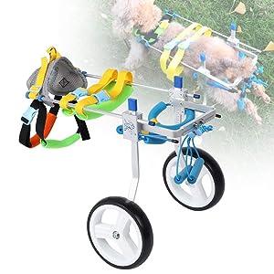 Fdit Adjustable Pet Dog Wheelchair Cart Disabled Dog Assisted Walk Car Pet Hind Leg Exercise Car for Hind Legs Rehabilitation Dog Walk (S) (Tamaño: S)