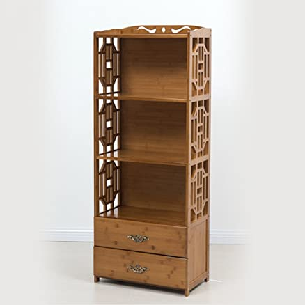 FEIFEI Libreria a 4 strati in bambù art con cassetti e scaffali combinabili ( dimensioni : 42*29*130cm )