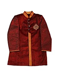 AARYA Boy IndoWestern Red Velvet Sherwani with Gold Trouser