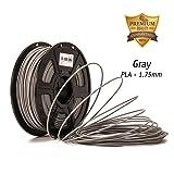 Gray PLA- DAZZLE LIGHT 3D PLA-1KG 1.75-BLK PLA 3D Printer Filament, Dimensional Accuracy +/- 0.05 mm, 1 kg Spool, 1.75 mm, Gray, for 3D Printers & 3D Pen, 3D filament gray