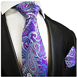 Purple Paisley Silk Tie and Pocket Square . Paul Malone Red Line