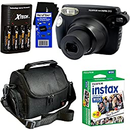 Fujifilm instax 210 Wide-Format Instant Photo Film Camera (Black) + Fujifilm instax Wide Instant Film, Twin Pack (20 sheets) + 4 AA High Capacity Rechargeable Batteries with Battery Charger + Camera Case + HeroFiber® Ultra Gentle Cleaning Cloth