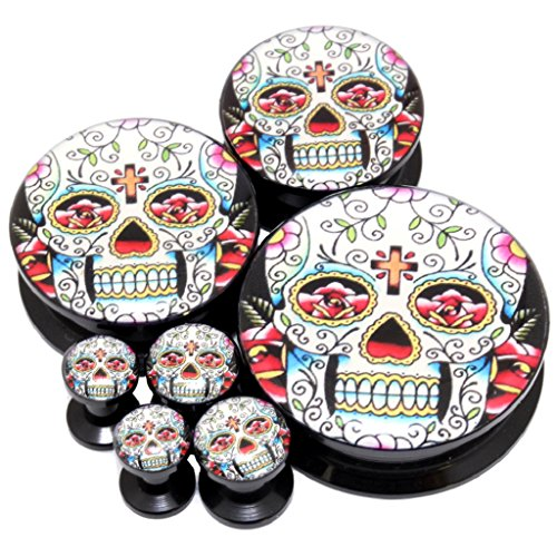 Pair 30Mm (More Size Available) Classic Mexican Sugar Skull Logo Acrylic Internal Thread Screw Fit Flesh Tunnels Black Ear Plugs