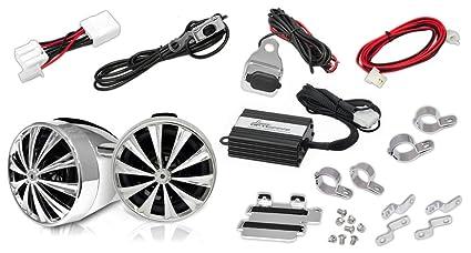 Lanzar OPTIMC91BT Paire d'enceintes avec Amplificateur pour Moto/Scooter/Vélo/Motoneige 700 W 4 voies Entrées 3,5 mm/USB/Bluetooth Argent