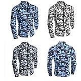 メンズ 迷彩 柄 シャツ 長袖 ワイルド系 モテ系 スリム セクシー ボタンシャツ (カモフラージュ ブルー L)