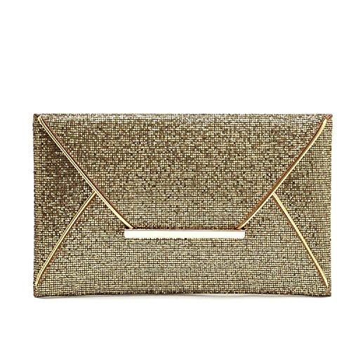 URAQT-Vestito da sera glitterato borsetta Clutch-Borsa da donna, oro (Oro) - XBPJ6-SNB-001-GO_UK