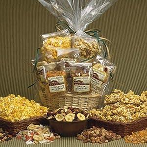 Candy House Munchies Basket of Snacks 8 Oz. Caramel Nut Corn 2 Oz. Cheese Popcorn 5 Oz. Cajun Spicy Crunch 5 Oz. Nutty Honey Mix 5 Oz. Peanut Colada Mix 5 Oz. Classic Trail Mix 5 Oz. Berries and Nut Mix . SCS