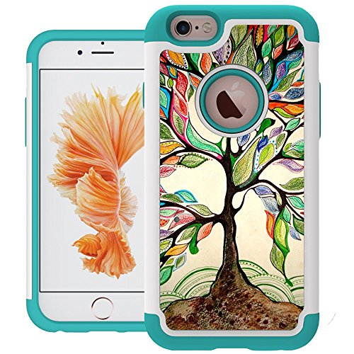 iPhone 6 Case, UrSpeedtekLive iPhone 6s Cases [Shock Absorption] Dual Layer Heavy Duty Protective Silicone Plastic Cover Case for iPhone 6/6s - Love Tree (Protective Iphone 6 Case Silicone compare prices)