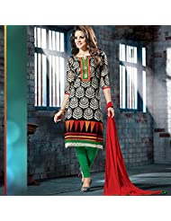 Ali Colours Designer Cotton Dress Material With Two Bottom One Plazo And One Churidar Legging