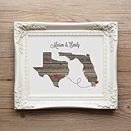 Any Two States Love Wedding Gift Personalized State Natural Series Custom Location Modern Art Print Long Distance Map Art Engagement Bridal Shower Gift