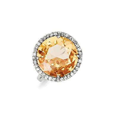 Sterling Silver Clear & Champagne CZ Ring