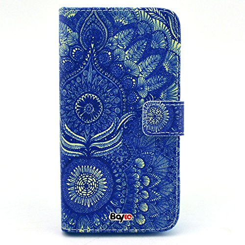 Bayke Brand / Iphone 4 4S Smartphone Fashion Pu Leather Wallet Flip Protective Skin Case With Stand With Credit Card Slots & Holder For Apple Iphone 4 & Iphone 4S (Dmt Art Paisley Design Abstract Vintage Blue Floral Pattern)