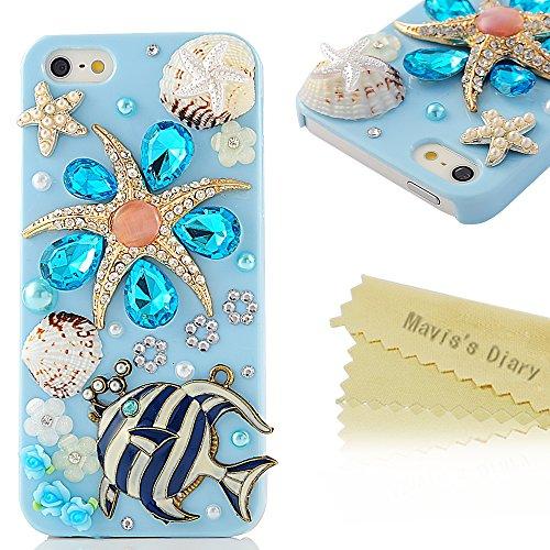 Mavis'S Diary 3D Handmade Crystal Starfish Sea Shell Fresh Summer Flower Lotus Rhinestone Diamond Bling Clear Hard Case Cover For Iphone 5 5S With Soft Clean Cloth (Fish And Sea Star)