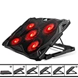 Pccooler Laptop Cooling Pad, Laptop Cooler with 5 Quiet Red LED Fans for 12-17.3 Inch Laptop, Dual USB 2.0 Ports, Portable 6 Angle Adjustable Laptop Stand for Gaming Laptop (PC-R5) (Color: PC-R5, Tamaño: 12-17 Inches)