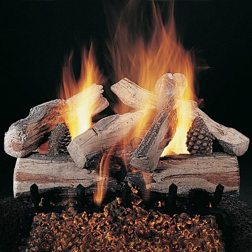 Rasmussen 24 Inch Evening Crossfire Gas Log Set With Vented Propane Ansi Certified Flaming Ember Burner - Variable Flame Remote